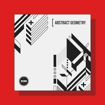 Plantilla de diseño de fondo cuadrado con elementos geométricos abstractos
