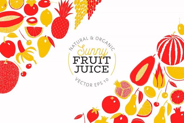 Plantilla de diseño de fruta dibujada mano escandinava