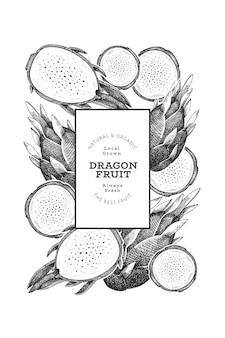 Plantilla de diseño de fruta de dragón dibujada a mano. ilustración de vector de alimentos orgánicos frescos. banner de fruta de pitaya retro.