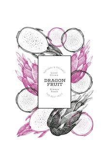 Plantilla de diseño de fruta de dragón dibujada a mano