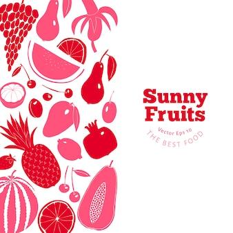 Plantilla de diseño de fruta escandinava dibujado a mano.