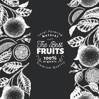 Plantilla de diseño de fruta naranja.
