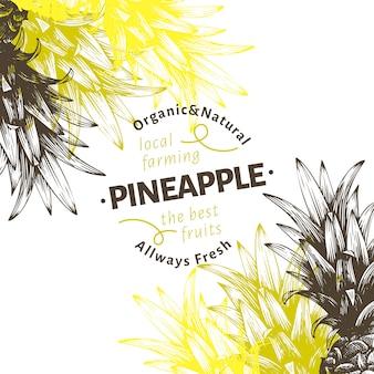 Plantilla de diseño de fruta de piña. dibujado a mano vector ilustración de fruta. grabado estilo retro fondo tropical.