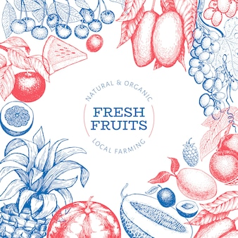 Plantilla de diseño de frutas y bayas.