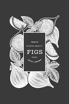 Plantilla de diseño de frutas de higo dibujado a mano. ilustración de vector de alimentos orgánicos frescos en la pizarra. bandera de fruta de higo retro.