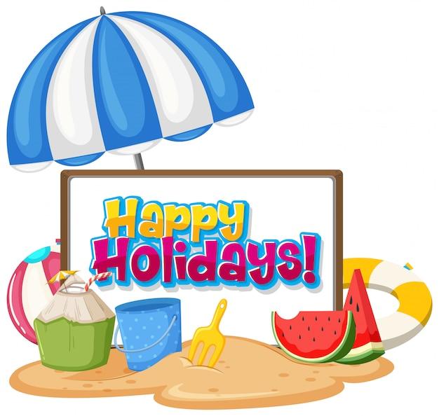 Plantilla de diseño de fuente para la palabra felices fiestas con artículos de playa