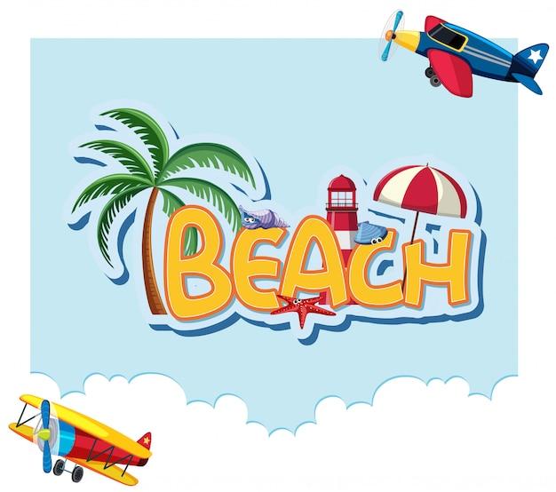 Plantilla de diseño de fuente para word beach con fondo de cielo