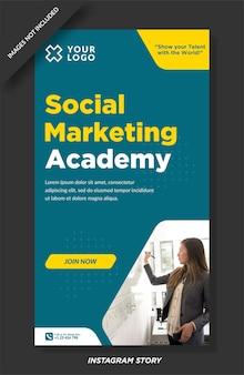 Plantilla de diseño de historias de instagram de la academia de marketing social