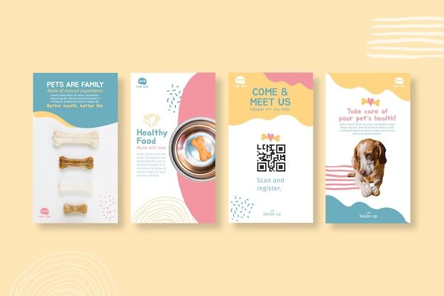 Plantilla de diseño de historias de instagram de alimentos para animales