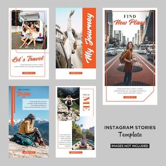 Plantilla de diseño de historias de instagram para viajeros vector premium
