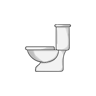 Plantilla de diseño de icono de ilustración de dibujado a mano de inodoro
