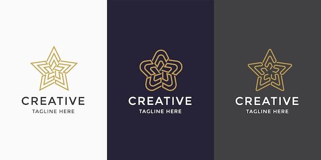 Plantilla de diseño de icono de logotipo de arte de línea de laberinto estrella abstracta. dorado, elegante