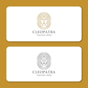 Plantilla de diseño de icono de logotipo de arte de línea de reina egipcia cleopatra. lujo elegante