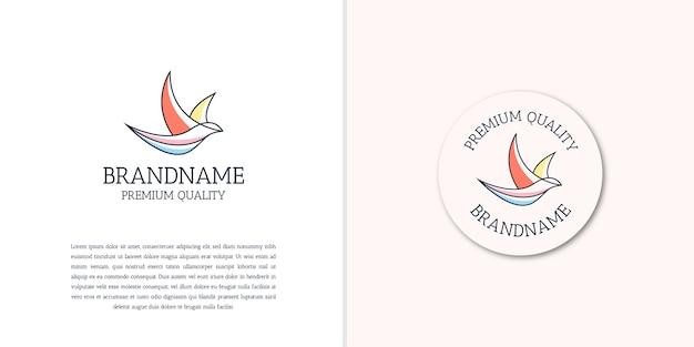 Plantilla de diseño de icono de logotipo de contorno de pájaro