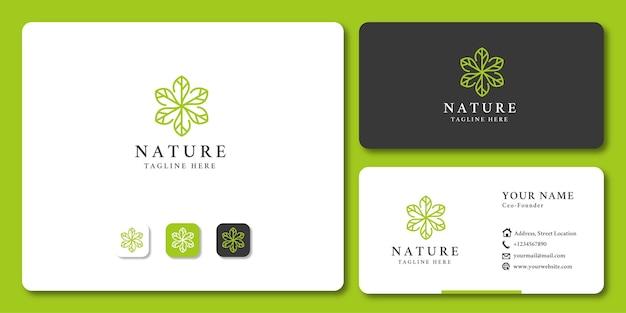 Plantilla de diseño de icono de logotipo floral orgánico natural de hoja creativa y tarjeta de visita