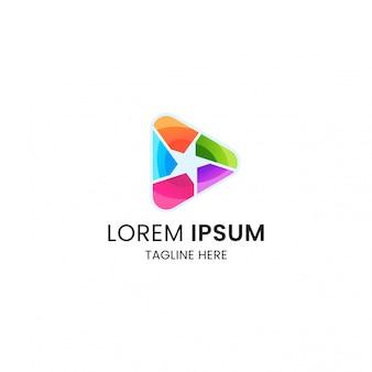 Plantilla de diseño de icono de logotipo de juego de medios de estrellas coloridas