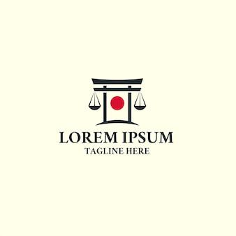 Plantilla de diseño de icono de logotipo de ley torii japón. justicia, abogado.