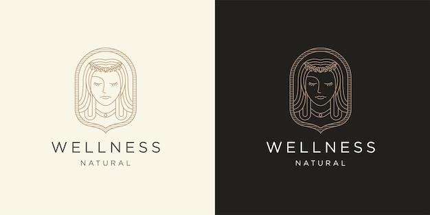 Plantilla de diseño de icono de logotipo de línea mono de mujer de belleza