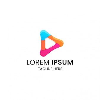 Plantilla de diseño de icono de logotipo de medios de reproducción colorido