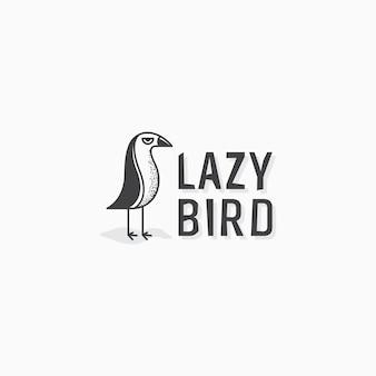 Plantilla de diseño de icono de logotipo de pájaro perezoso