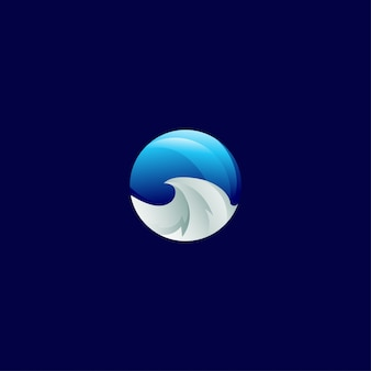 Plantilla de diseño de icono de moda moderna degradado de onda