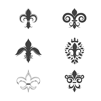 Plantilla de diseño de icono de vector de flor de lis