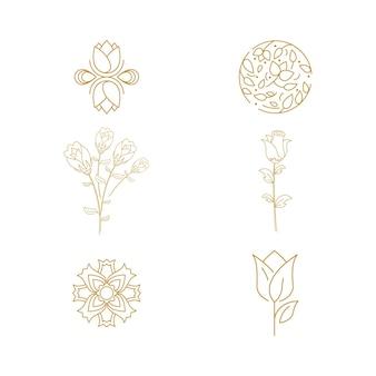 Plantilla de diseño de icono de vector de floristería de belleza