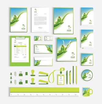 Plantilla de diseño de identidad corporativa con hojas verdes