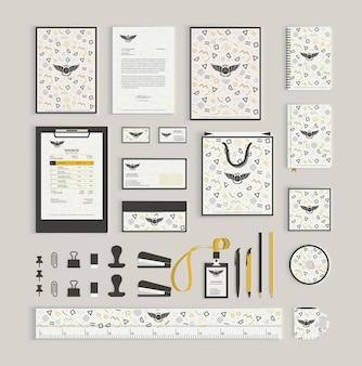 Plantilla de diseño de identidad corporativa con el patrón de memphis