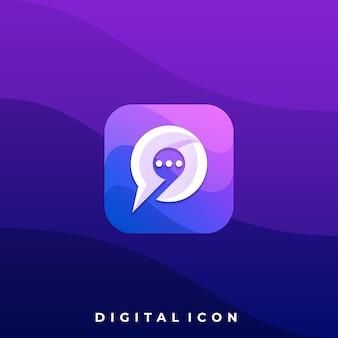 Plantilla de diseño de ilustración colorida de chat de medios digitales.
