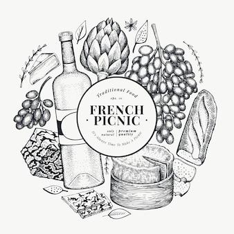 Plantilla de diseño de ilustración de comida francesa. dibujado a mano ilustraciones de comida de picnic. grabado estilo diferente snack y vino banner.