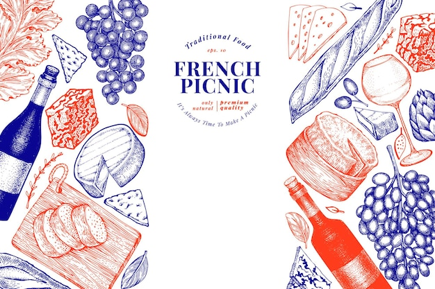 Plantilla de diseño de ilustración de comida francesa. ilustraciones de comida de picnic de vector dibujado a mano. bandera de bocadillos y vinos diferentes de estilo grabado. fondo de comida vintage.