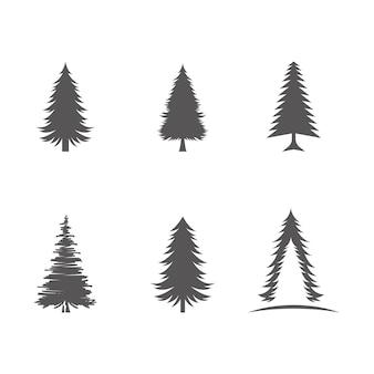 Plantilla de diseño de ilustración de icono de vector de árbol de cedro