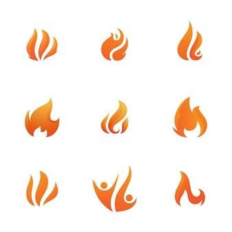Plantilla de diseño de ilustración de icono de vector de fuego de llama caliente