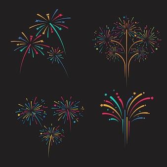 Plantilla de diseño de ilustración de icono de vector de fuegos artificiales