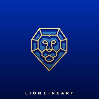 Plantilla de diseño de ilustración de lujo de diamond lion