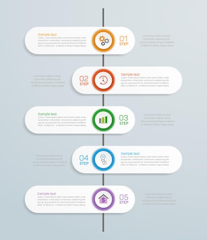 Plantilla de diseño de infografía creativa con 5 pasos.