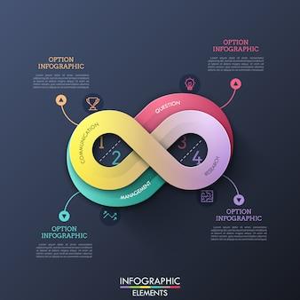 Plantilla de diseño de infografía creativa en forma de signo de infinito con cuatro opciones, símbolos de línea delgada y cuadros de texto. concepto de proceso de negocio infinito.