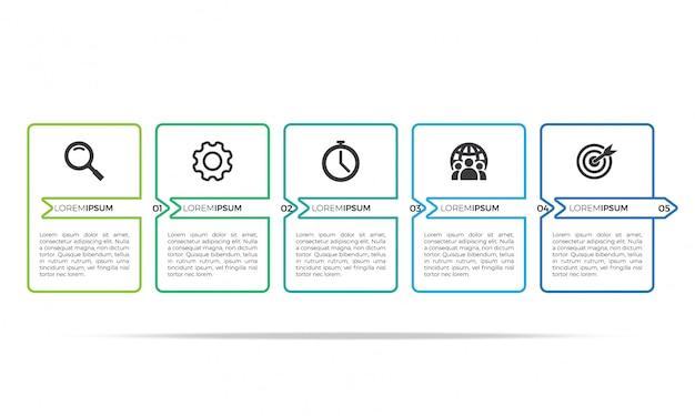Plantilla de diseño de infografía delgada línea