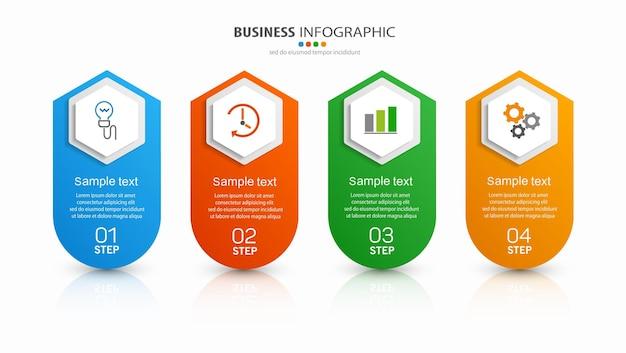 Plantilla de diseño de infografía empresarial con 4 pasos