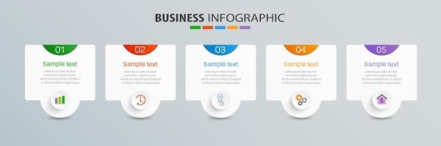 Plantilla de diseño de infografía empresarial con 5 opciones de pasos o procesos.