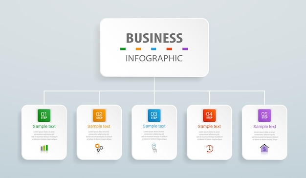 Plantilla de diseño de infografía empresarial con 5 pasos