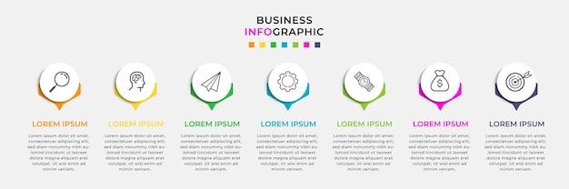 Plantilla de diseño de infografía empresarial y 7 siete opciones o pasos.