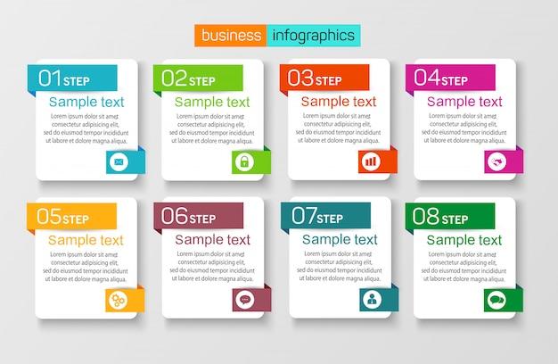 Plantilla de diseño de infografía empresarial con 8 pasos