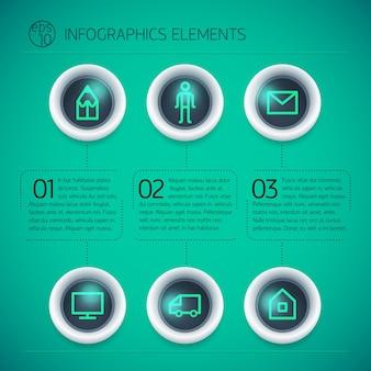 Plantilla de diseño de infografía empresarial con anillos de texto iconos de neón tres opciones sobre fondo verde aislado