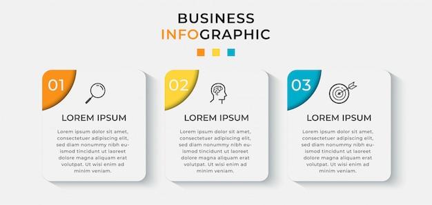 Plantilla de diseño de infografía empresarial con iconos y 3 tres opciones o pasos.