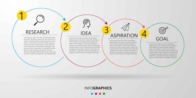 Plantilla de diseño de infografía empresarial con iconos y 4 cuatro opciones o pasos.