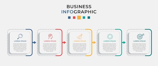 Plantilla de diseño de infografía empresarial con iconos y 5 cinco opciones o pasos.
