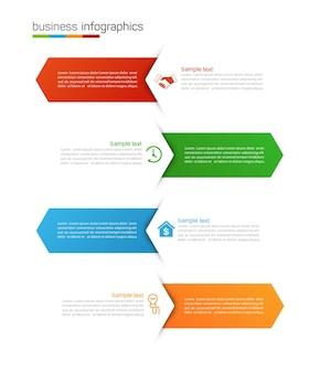 Plantilla de diseño de infografía empresarial con opciones y 4 pasos.