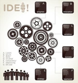 Plantilla de diseño de infografía con engranajes